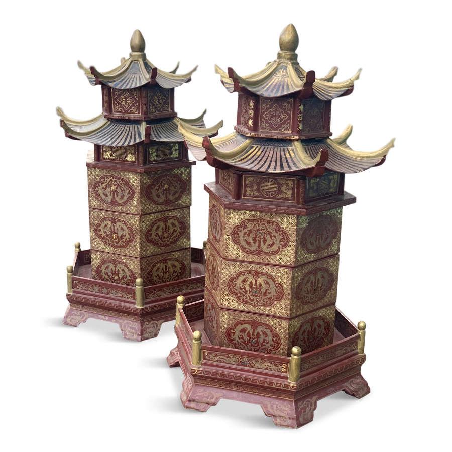 Pair of late 20th Century Pagodas