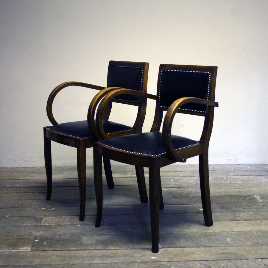 1940's Leather Studded Bridge Chairs