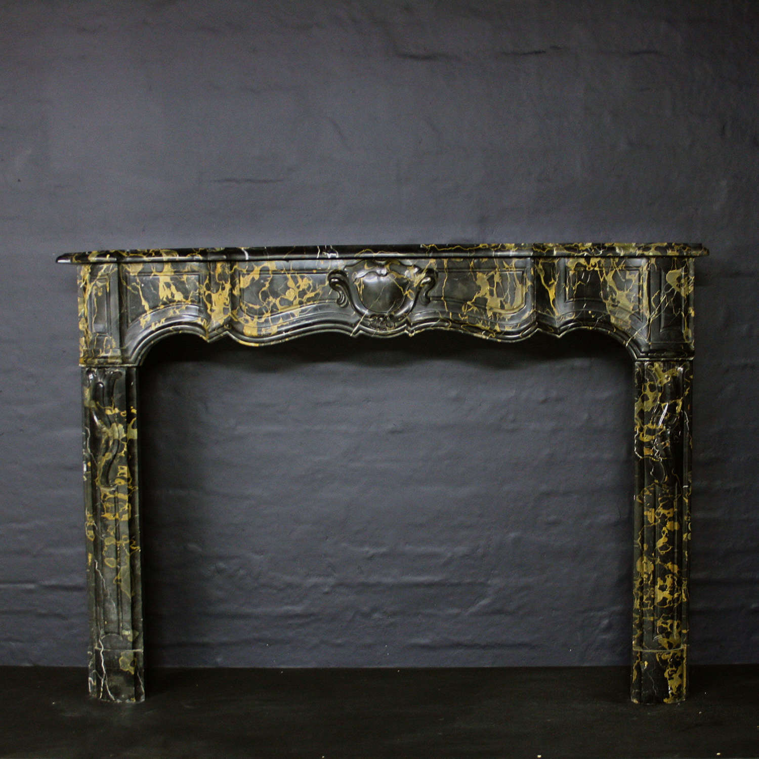 19th Century Antique French Chimneypiece in Portoro Marble