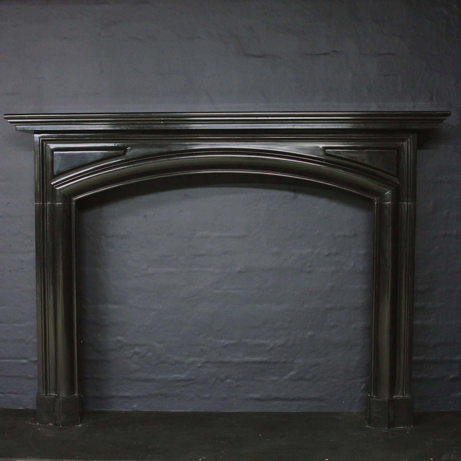 19th Century Belgian Black Marble Chimneypiece