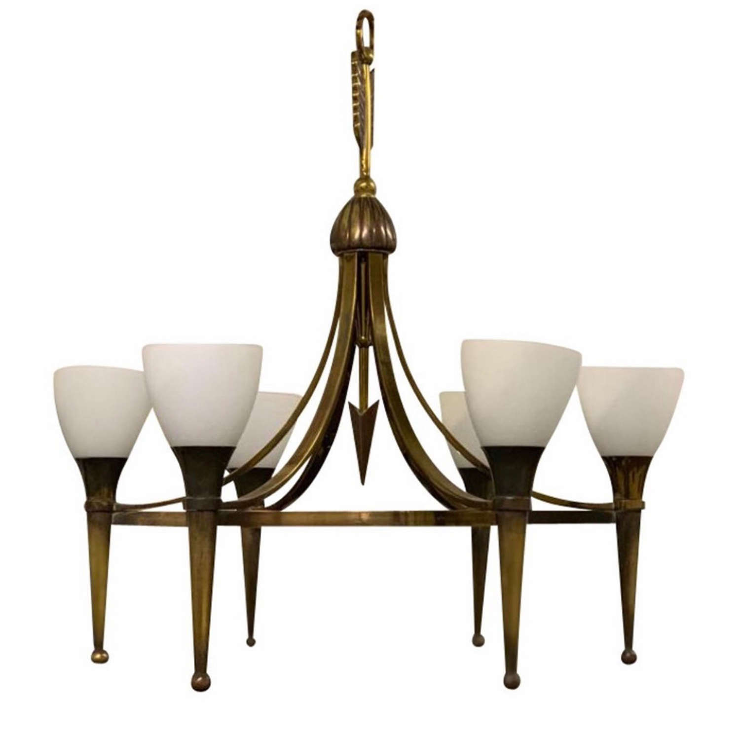 1940's Andre Arbus Brass Arrow Chandelier