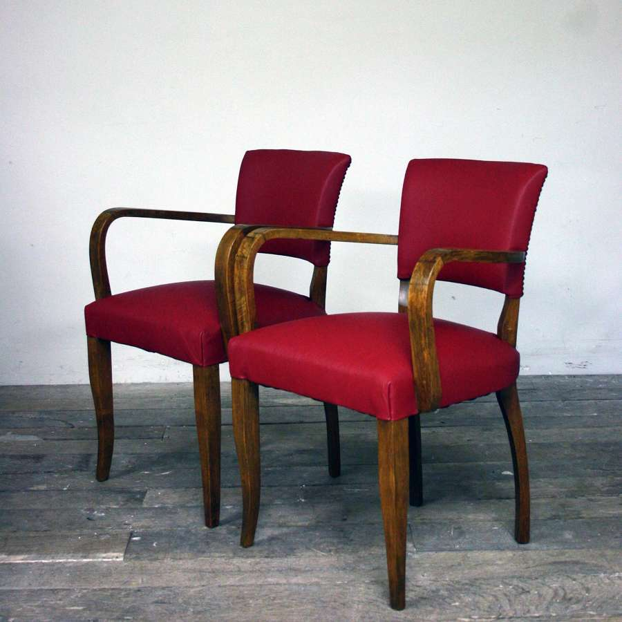 1930's Reupholstered red leather bridge chairs