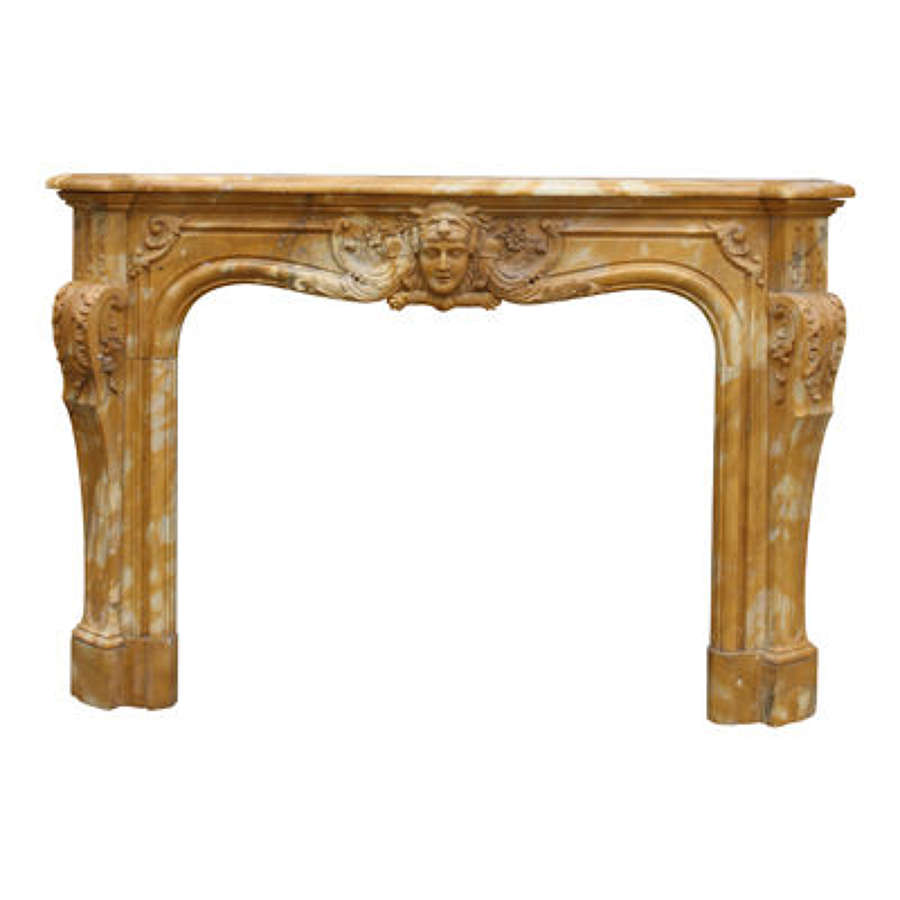 Mid 20th Century Large Sinenna marble Fireplace in Louis XV manner