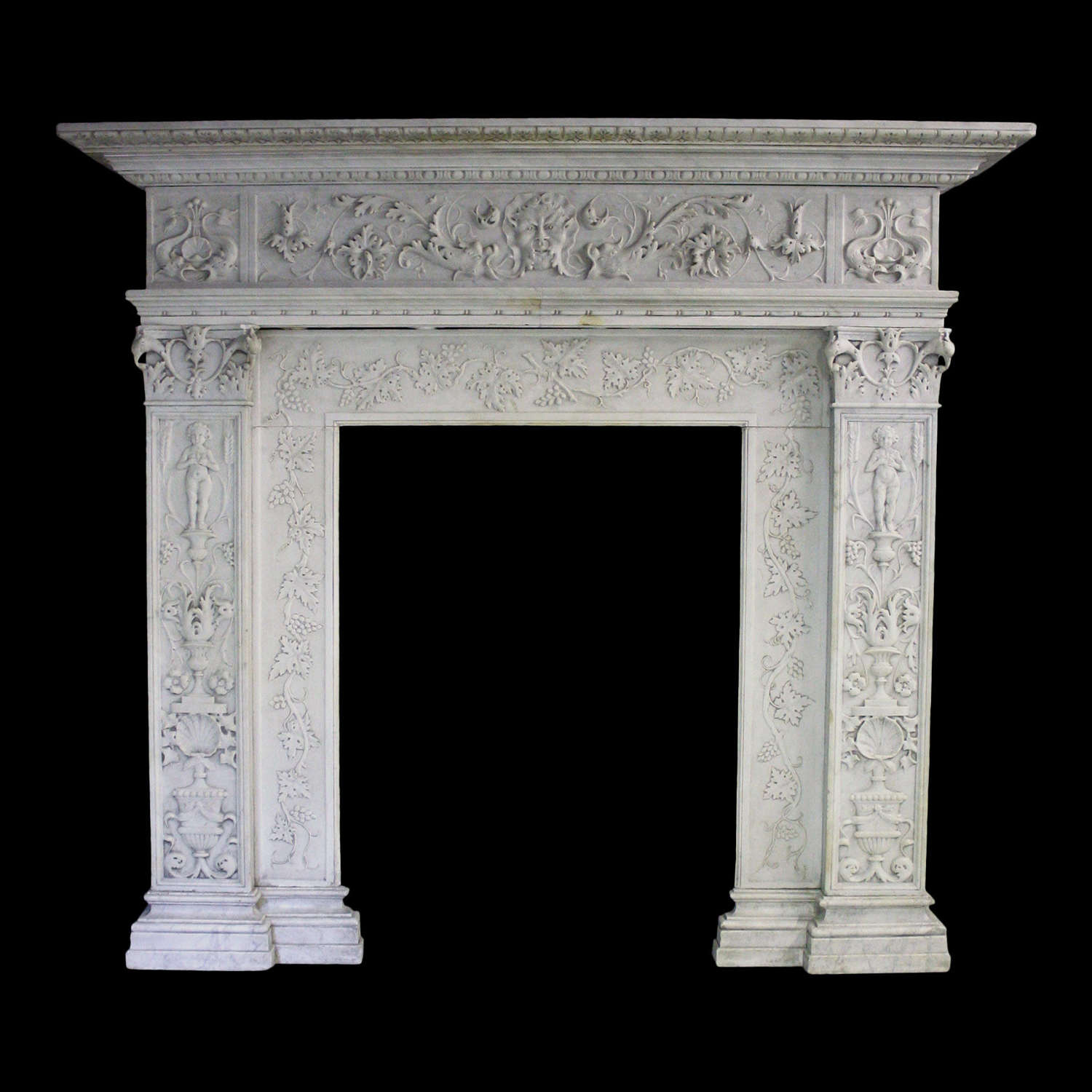 19TH CENTURY ITALIAN CARVED CARRARA MARBLE CHIMNEYPIECE