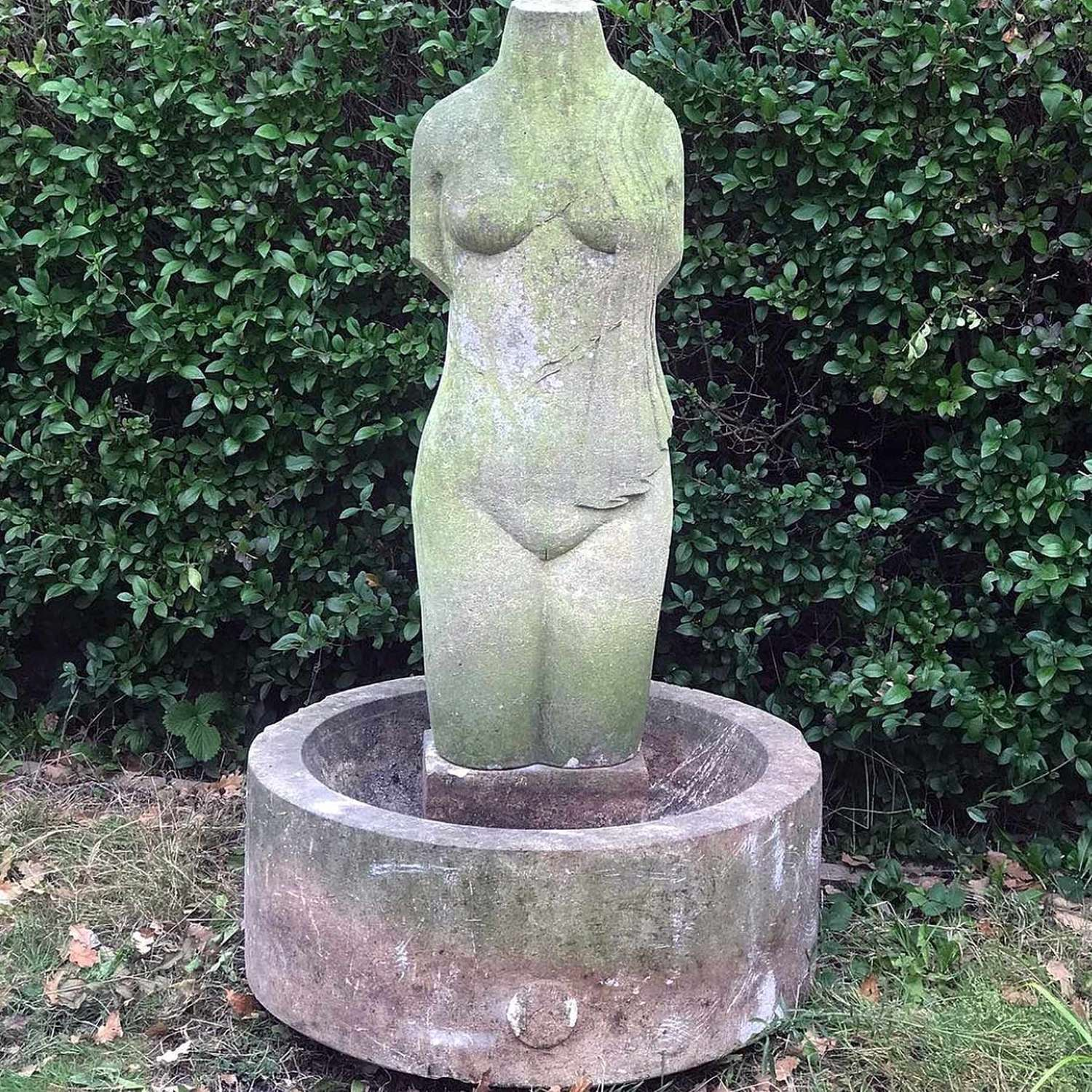 20th century Limestone Sculpture / Bird Bath by Keith Newstead