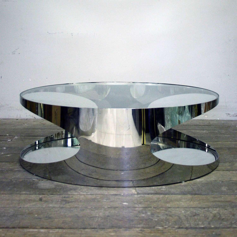 20th century Stylish Chrome Coffee Table