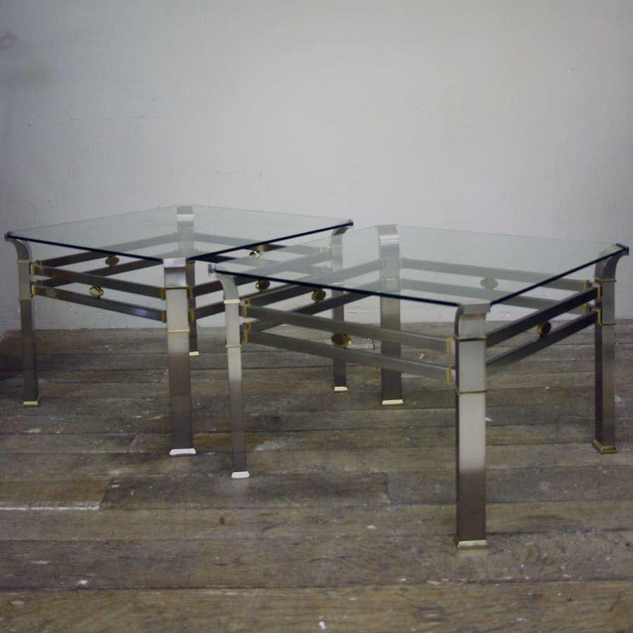 20th Century BRUSHED STEEL & BRASS SIDE TABLES