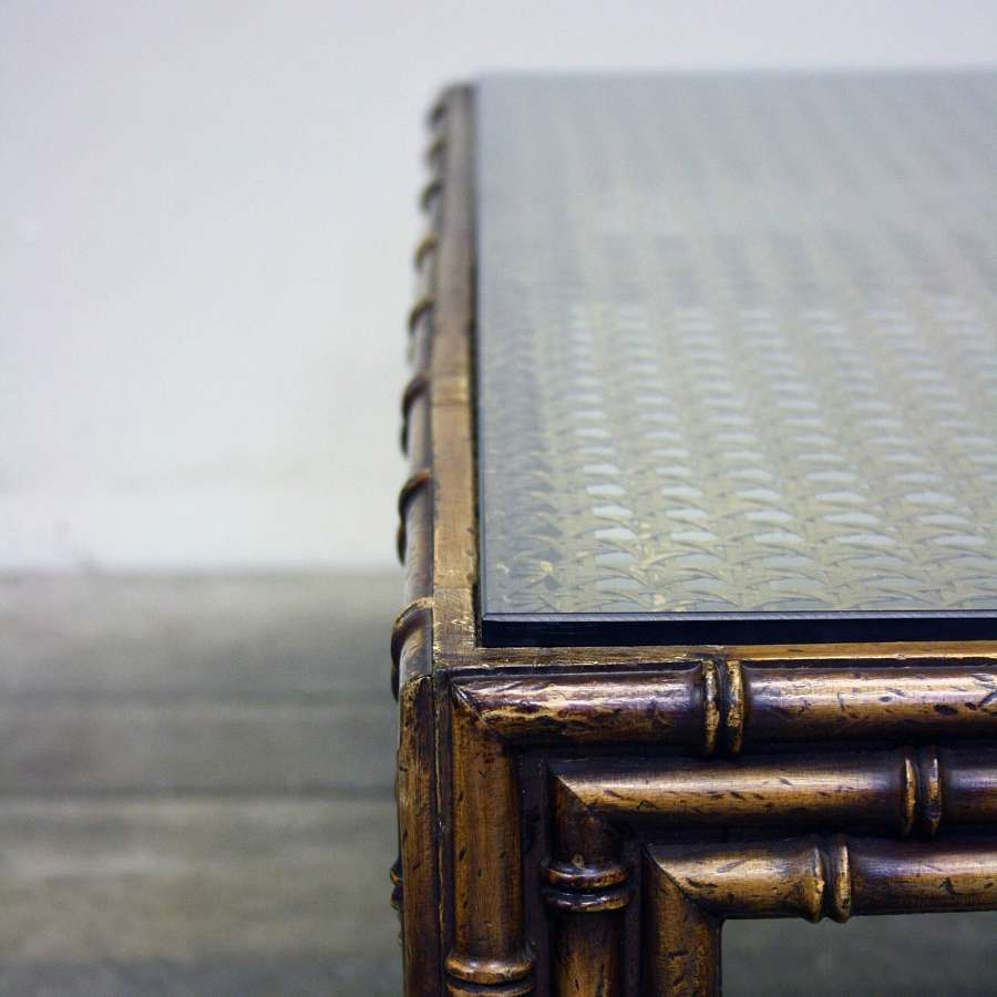 20th Century FAUX BAMBOO & RATTAN TABLE