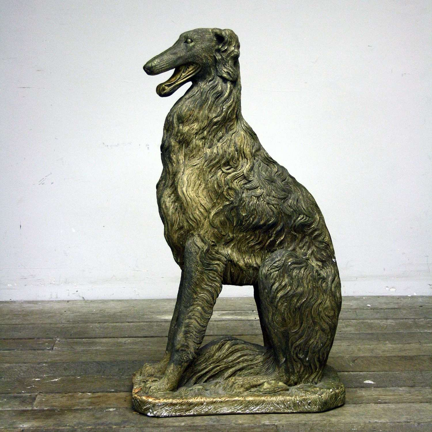 20th Century NEAR LIFESIZE PLASTER BORZOI DOG, SIGNED D HUGES