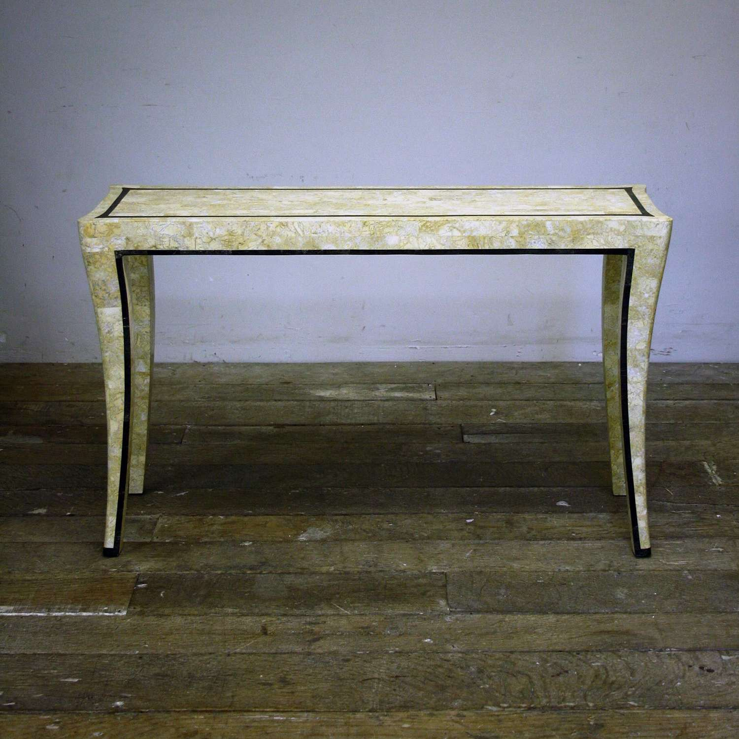 20th Century MAITLAND AND SMITH TRAVERTINE VANEER CONSOLE TABLE