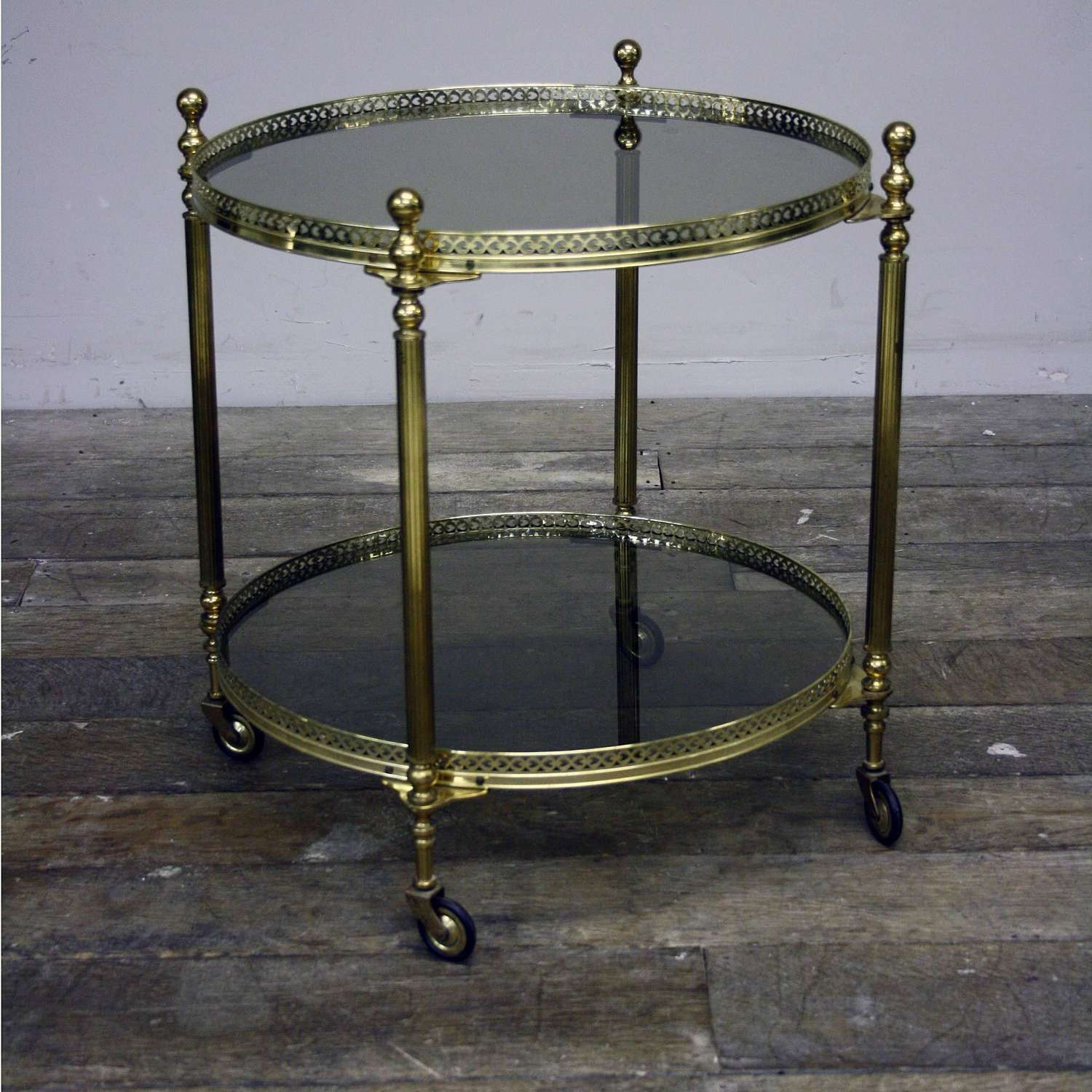 Mid 20th Century circular two tier brass serving car