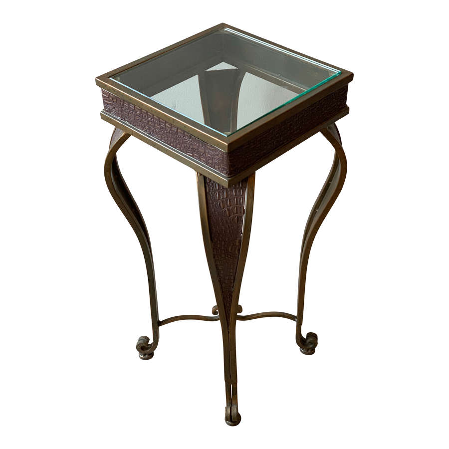 BRASS AND FAUX CROCODILE SIDE TABLE