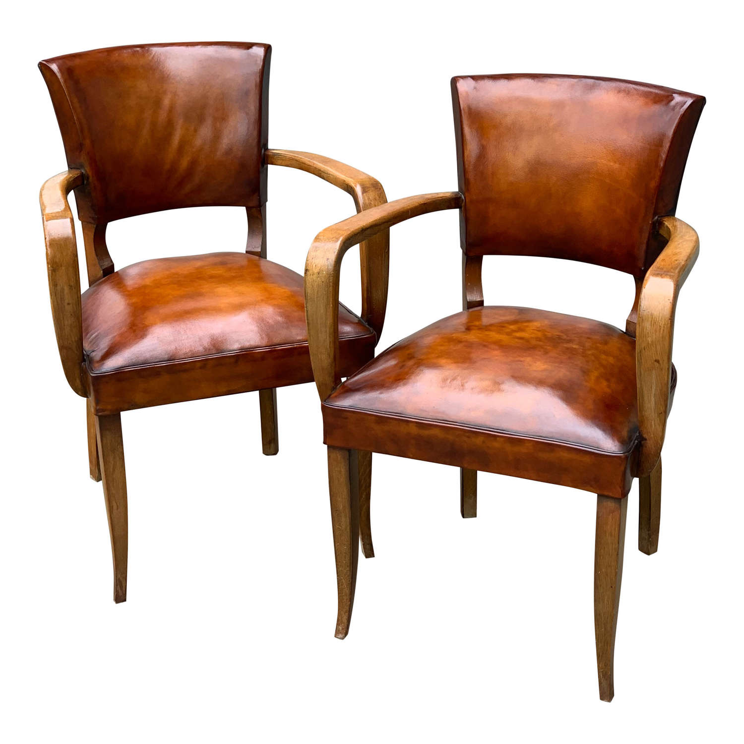 1940`S BRIDGE CHAIRS WITH REUPHOLSTERED LEATHER