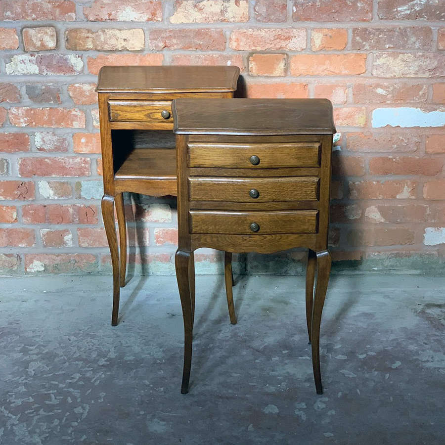 A petite pair of French Mid 20th Century oak bedside tables