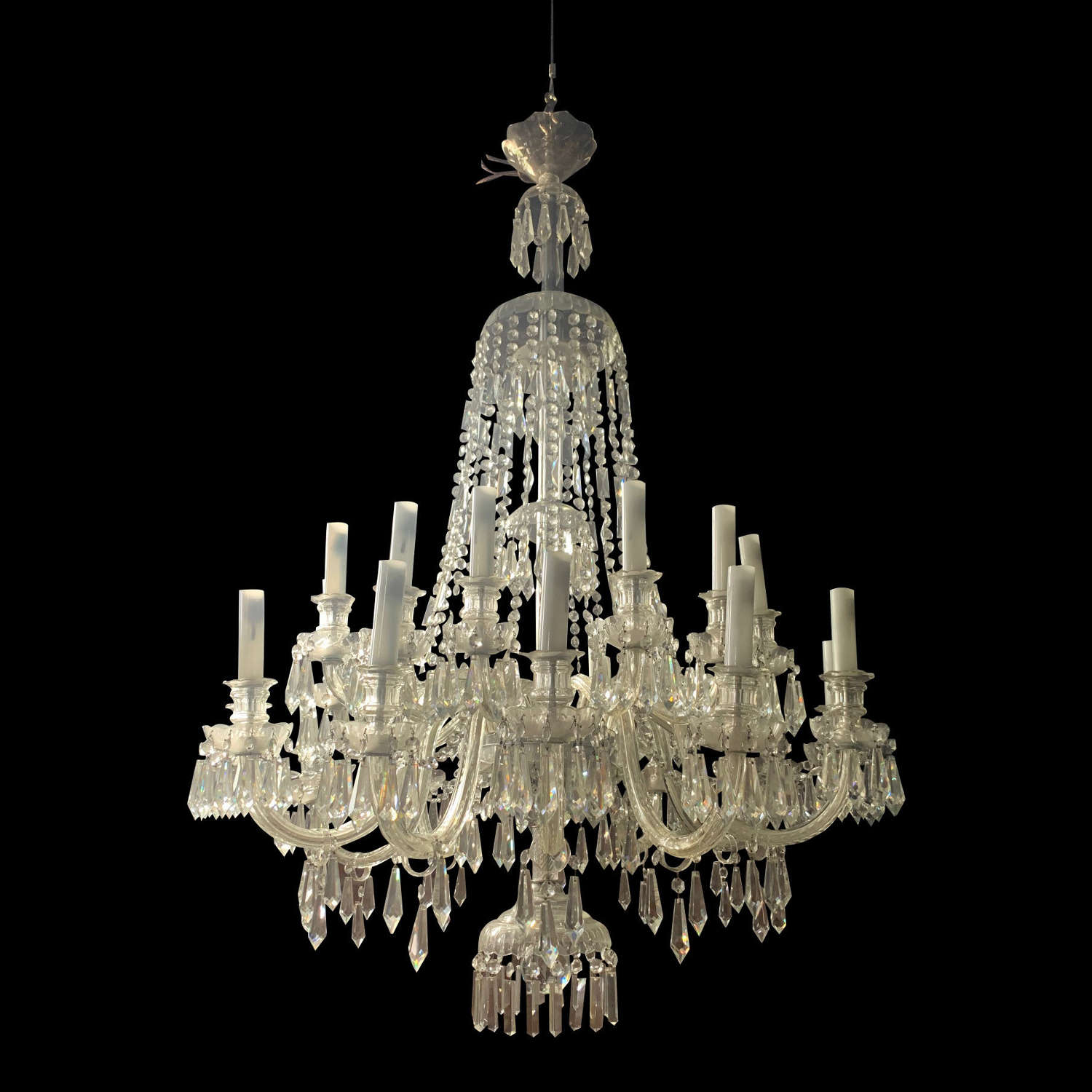 LARGE 20th CENTURY 26 ARM GLASS CHANDELIER