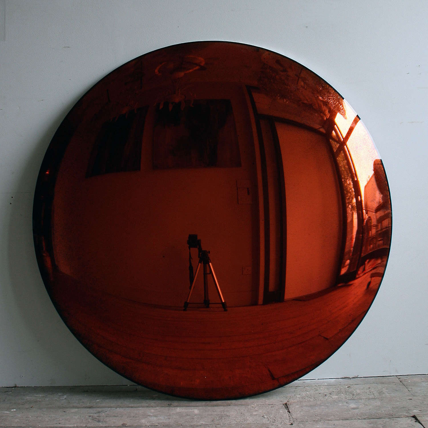 Antiqued Copper Convex Mirror