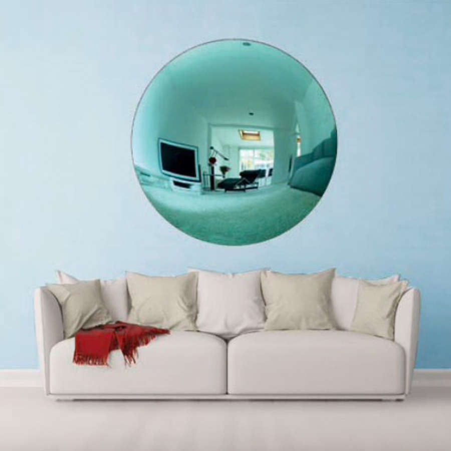 Large Aqua Blue Convex Mirror