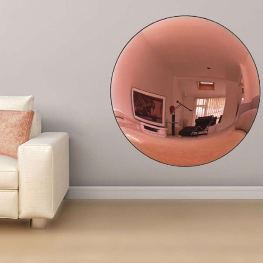 Large Antiqued Pink Convex Mirror