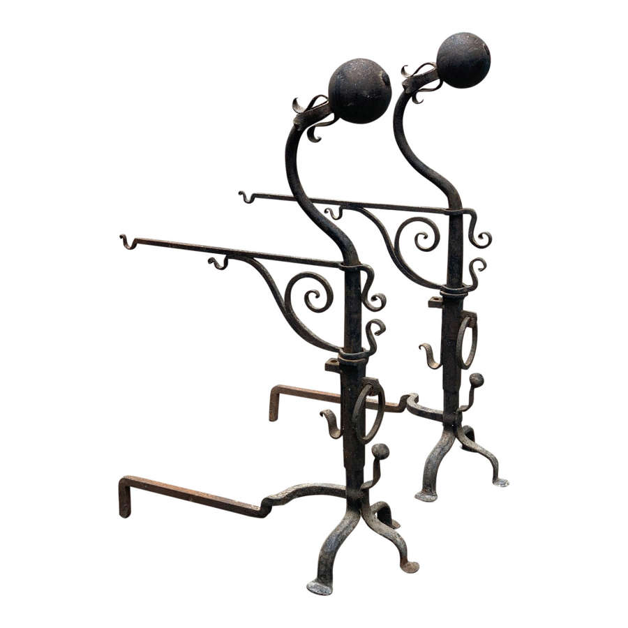 18th Century Monumental Wrought Iron Andirions