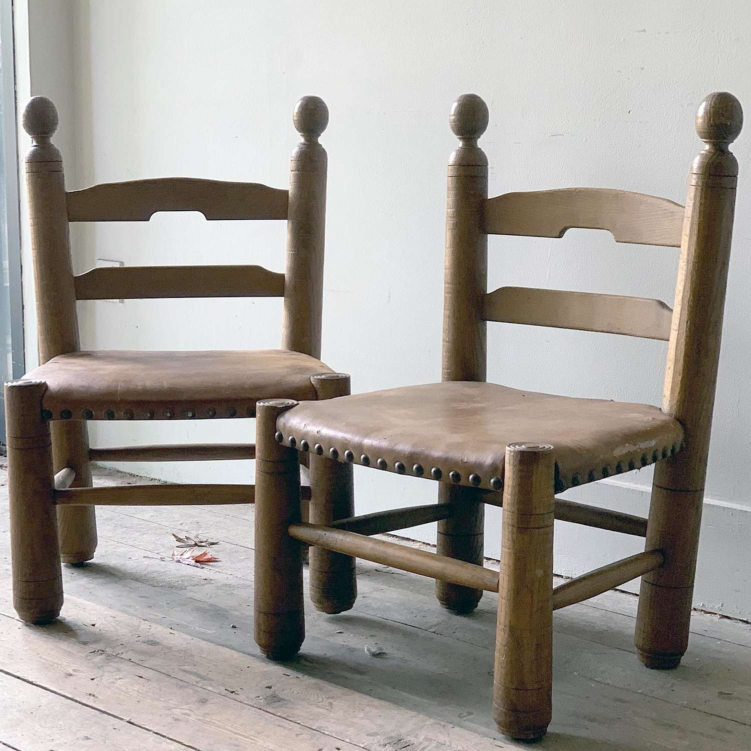 Pair of Leather Chairs ATTR. to Charles Dudouyt