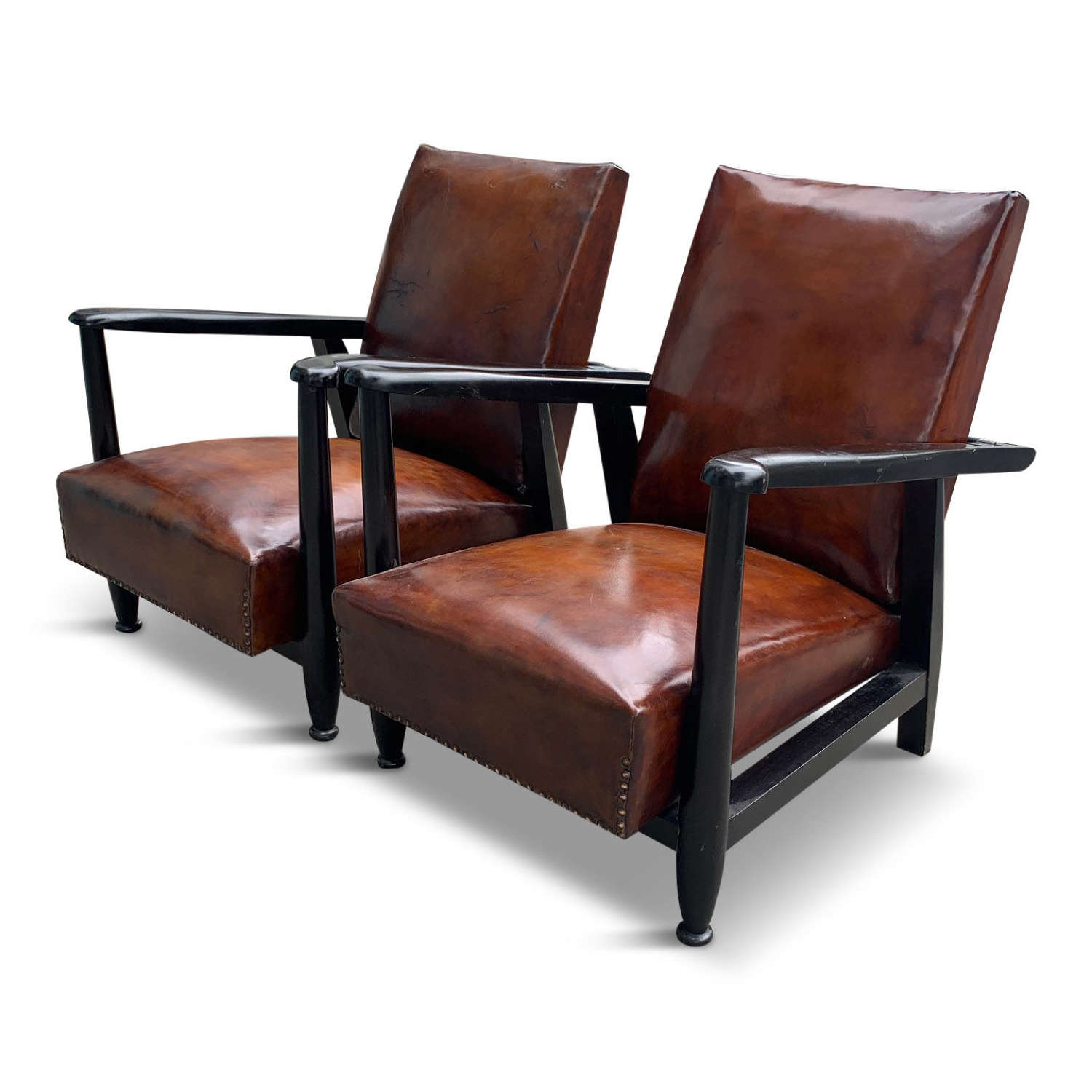 Pair of 20th Century leather reclining Armchairs