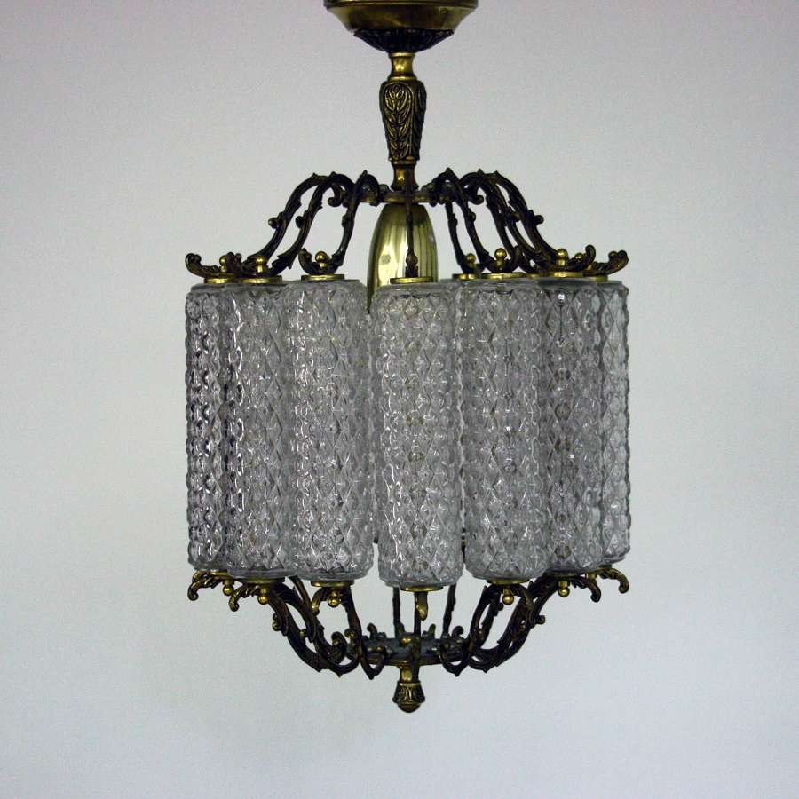 Pair of 20th Century Brass and Glass Chandeliers