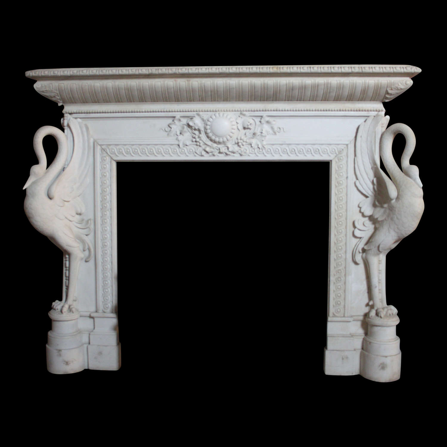 A Rare and Exceptional19th Century Italian Chimneypiece in Statuary Ma