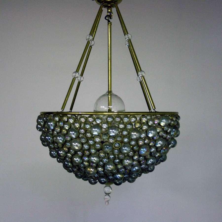 20th Century Brass and Glass Pendant Light