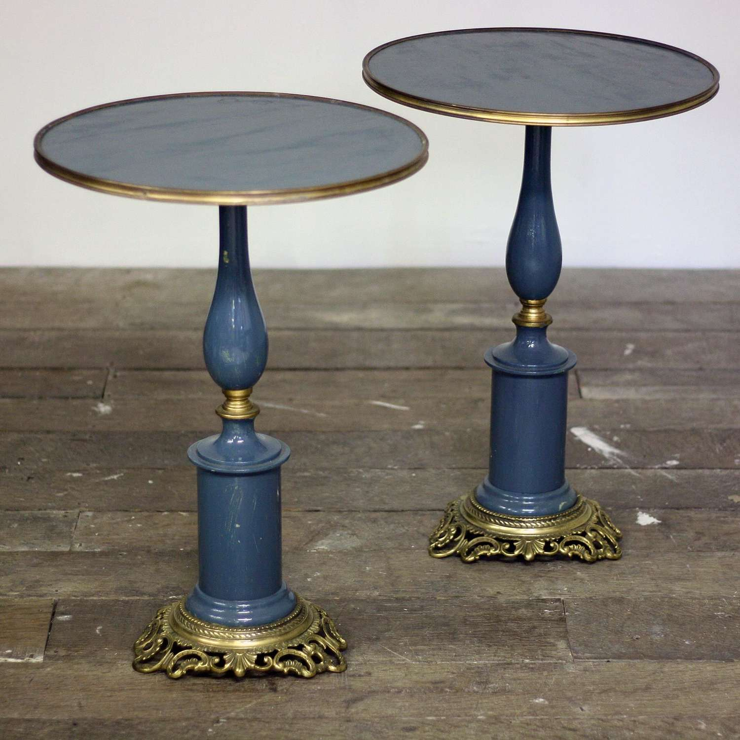 Pair of 20th Century Blue Circular Top Side tables