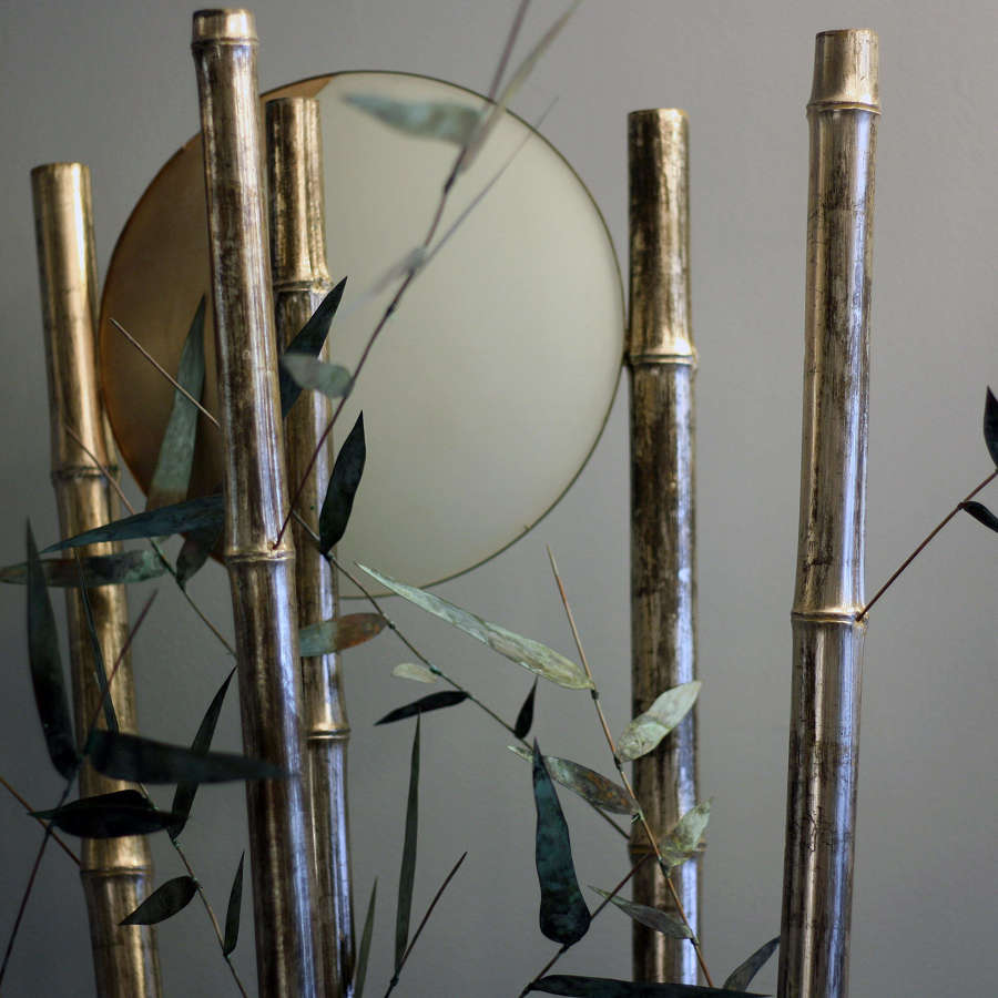 Bamboo Standard Lamp Sculpture by Glyn Lockett
