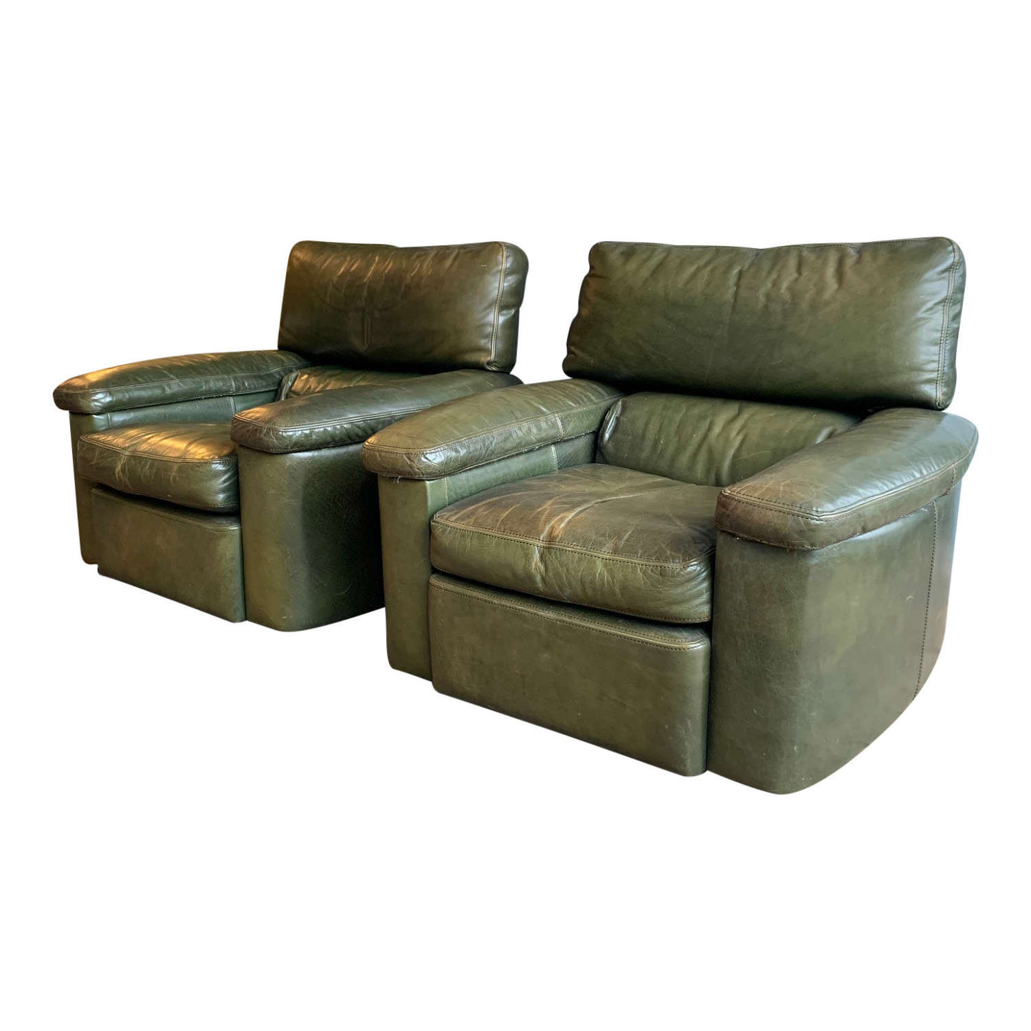 Pair of Late 20th Century Green Leather armchairs
