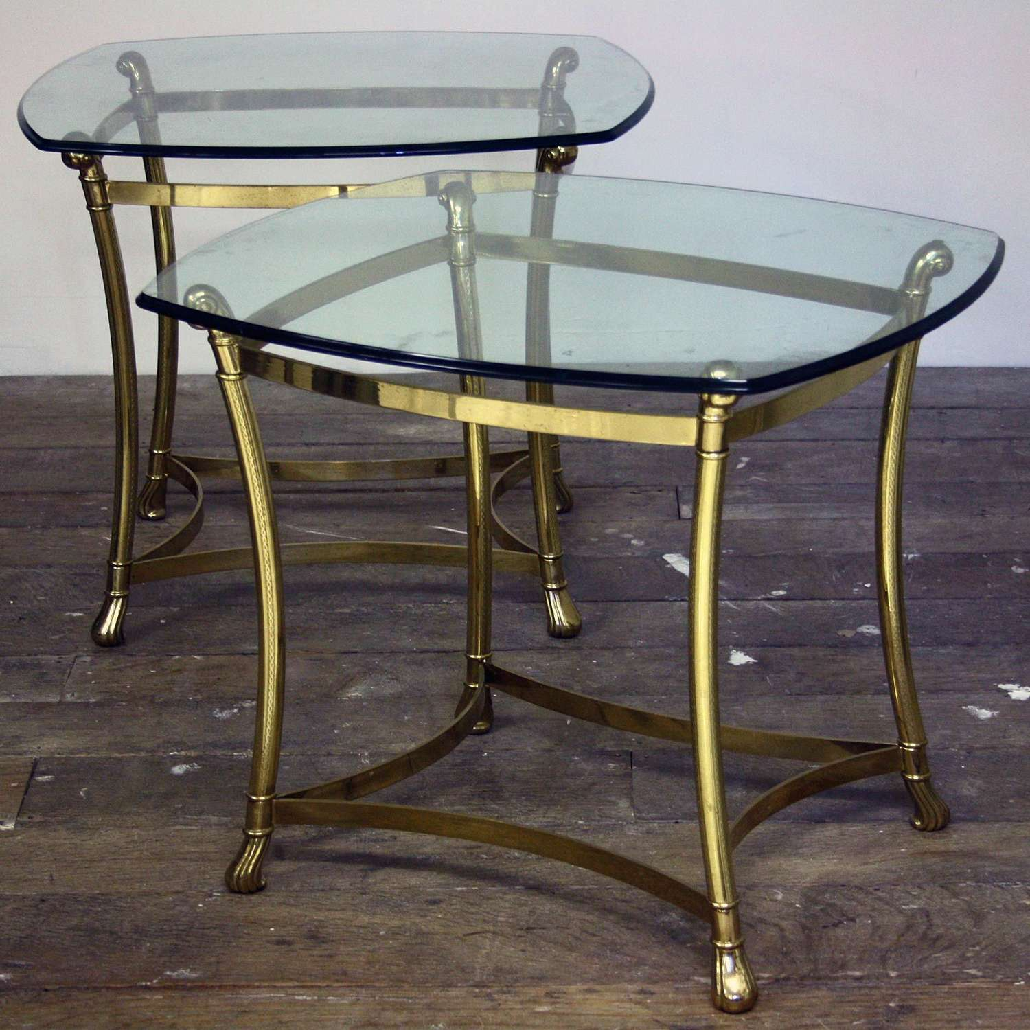 20th Century Brass and Glass side tables