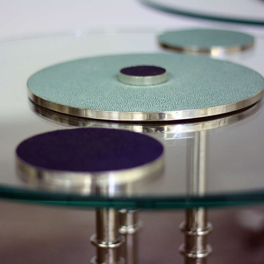 Shagreen, chrome and glass side tables and Coasters by Glyn Lockett