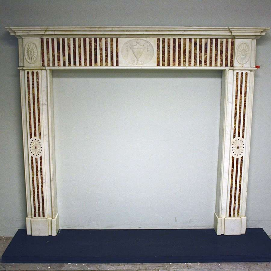 Georgian White Marble Chimneypiece with Jasper Marble inlay.