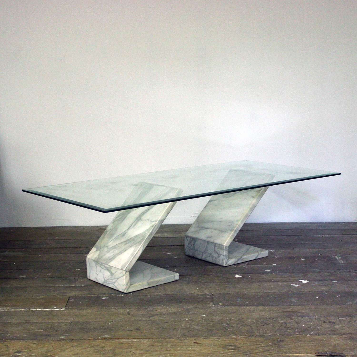 20th Century Marble and Glass Coffee Table