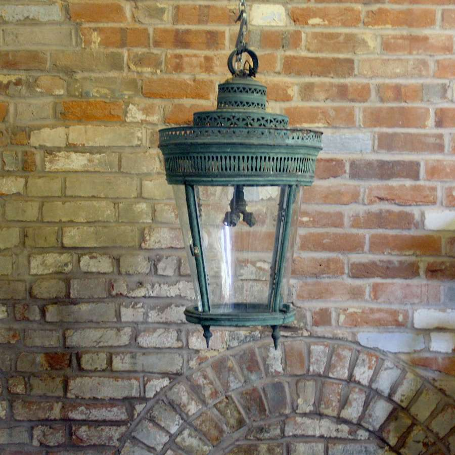 19th Century Verdigris Copper Lantern with Decorative Fret work