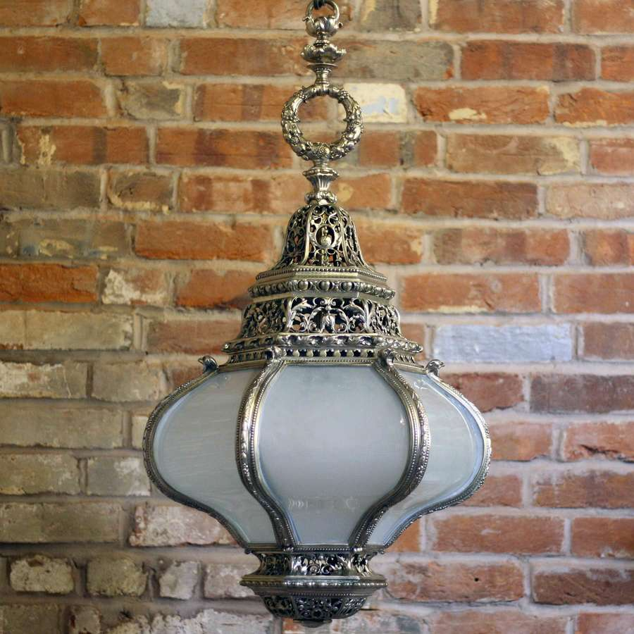 Early 20th Century Silvered lantern with Opaque Glass