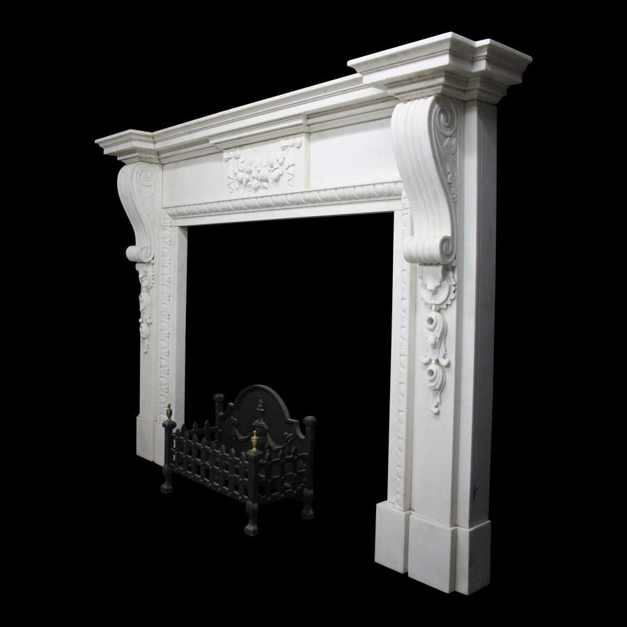 Large Neo Classical Statuary White Marble Fireplace