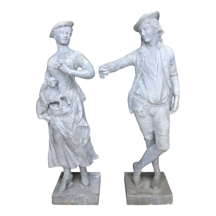20th Century Lead Statue of the Shepherd and Shepherdess