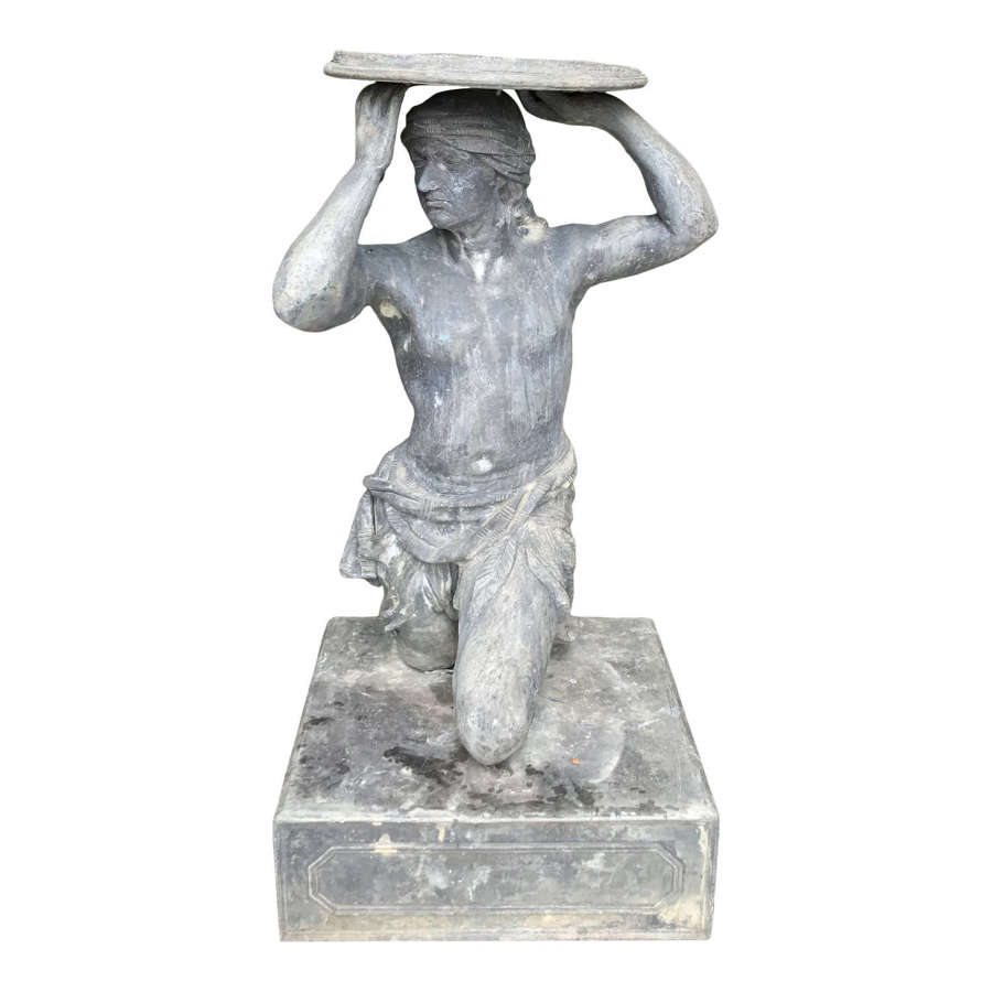 Unusual 20th Century Lead Statue with Sundial