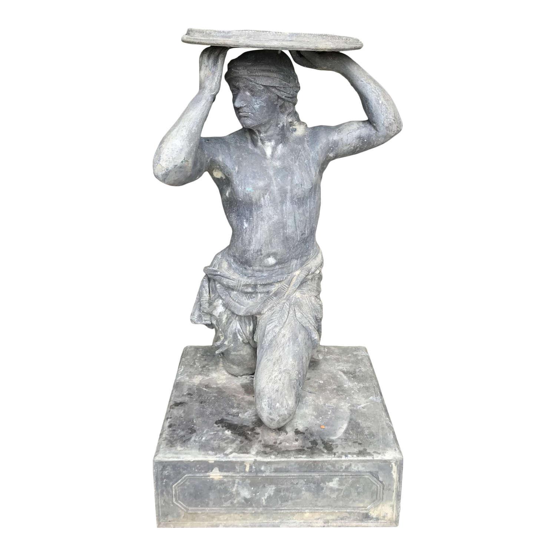 Unusual 20th Century Lead Statue with Sundial