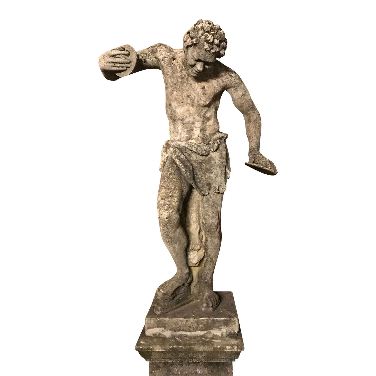 AFTER THE ANTIQUE, A LARGE COMPOSITION STONE FIGURE OF THE DANCING FAU
