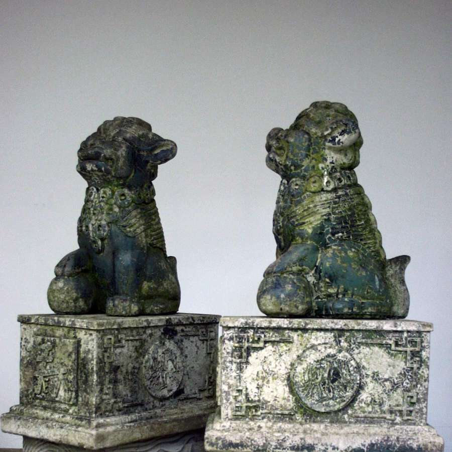 Pair of 20th C Cast Stone Chinese Temple Lions