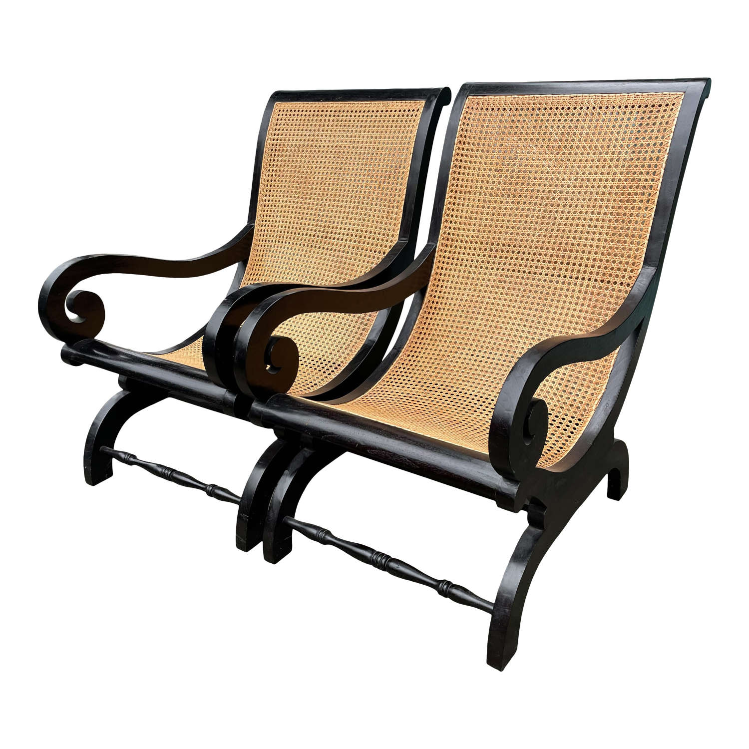 20th Century Pair of Ebonised Planters Chairs
